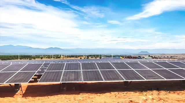 Nhà máy điện mặt trời Hồng Liêm 3 có công suất 50MWp do Tập đoàn Hawee làm tổng thầu thi công. Ảnh: T&T