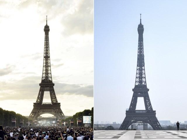 Hình ảnh đối ngược tại tháp Eiffel trước và trong đại dịch. Ảnh: Observer.