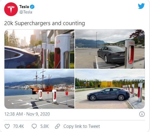 Tesla chạm mốc 20,000 cây sạc điện toàn cầu (Ảnh: Tesla)