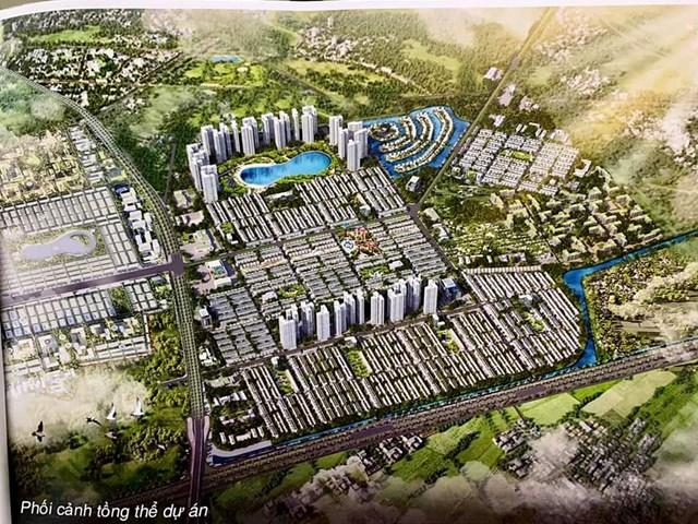 Hình ảnh phối cảnh tổng thế dự án xuất hiện trên một số trang thông tin rao bán nhà đất.
