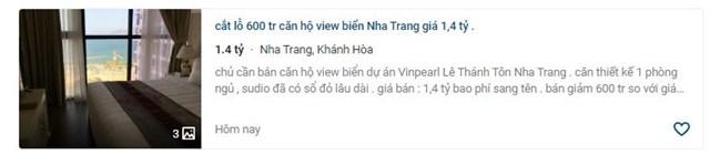 Nhiều căn hộ condotel tại Nha Trang đượcrao bán cắt lỗ lên đến 500-600 triệu đồng.