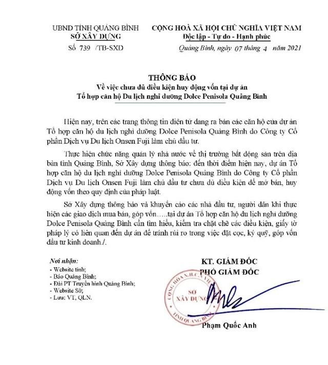 Văn bản của Sở Xây dựng Quảng Bình.