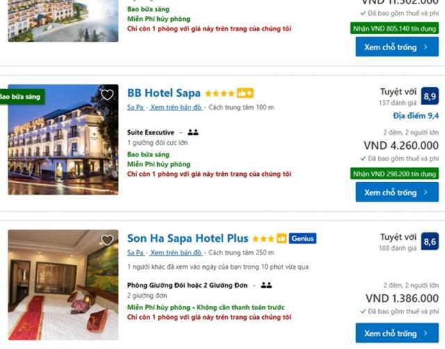 Nhiều khách sạn đã bắt đầu hết phòng trên các trang OTA. Ảnh chụp màn hình.