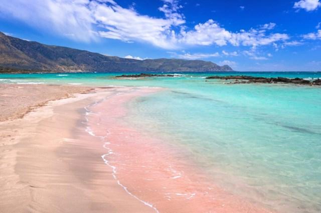 Bờ cát hồng trải dài. Ảnh: Shutterstock.