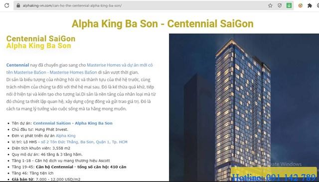 Alpha King thôn tin dự án đã được chuyển nhượng cho Masterise Homes.