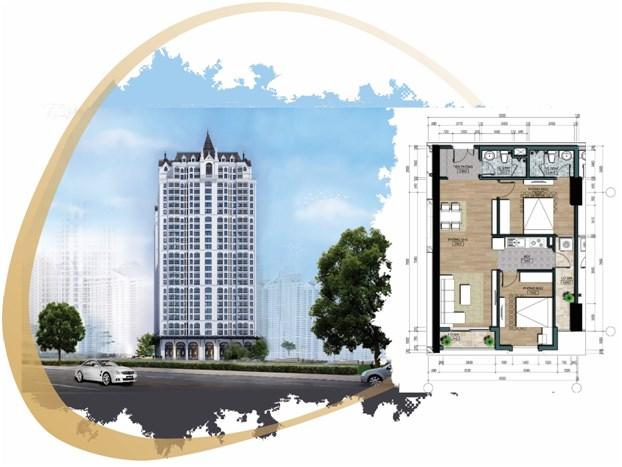 Tòa nhà HH3, kèm theo mặt bằng tổng thể căn hộ 2 phòng ngủ điển hình 76m2 Dự án The Jade Orchid