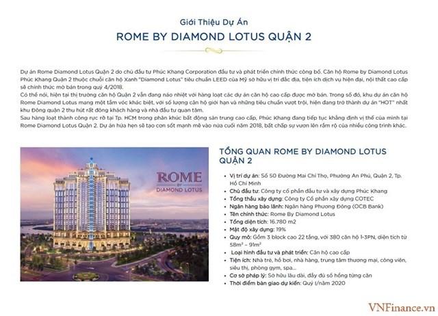 Các thông tin quảng cáo dự án Rome Diamond Lotus thời điểm rao bán rầm rộ năm 2018. (Ảnh VNFinance.vn)