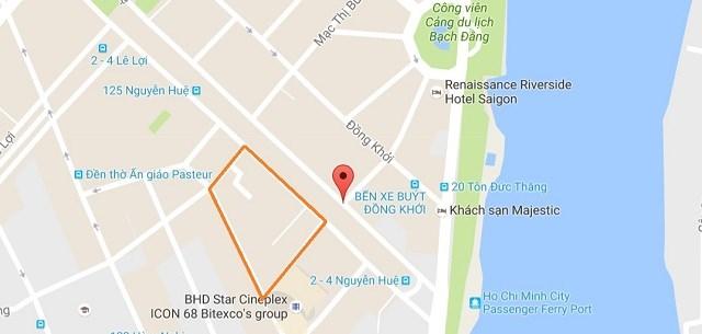 Vị trí khu tứ giác Nguyễn Huệ - Ngô Đức Kế - Hồ Tùng Mậu - Huỳnh Thúc Kháng. Ảnh: Google map