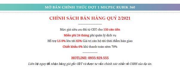 Chính sách bán hàng củaMipec Rubik 360.