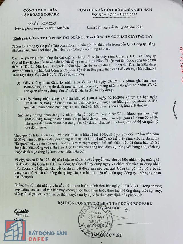 Tập đoàn Ecopark bất ngờ tố Crystal Bay và F.I.T có những vi phạm nghiêm trọng, có thể khởi kiện ra tòa - Ảnh 1