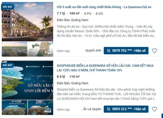Trên nhiều Website đã được môi giới rao bán rầm rộ các sản phẩm bán là shoptel và biệt thự