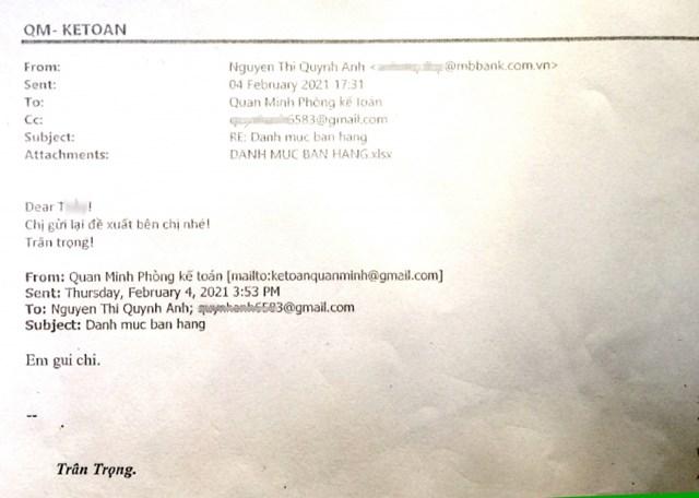 Email trao đổi của bà Nguyễn Thị Quỳnh Anh với Kế toán Công ty TNHH Quan Minh, gửi kèm file đề xuất giảm giá giá nhiều lô đất dự án Ocean Park Vân Đồn đã được lập vi bằng sự việc. Ảnh: MP.