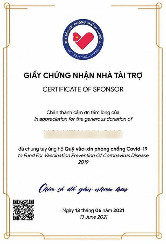 Giấy chứng nhận tài trợ điện tử sẽ được gửi tới các tấm lòng hảo tâm ngay sau khi hoàn thành ủng hộ.