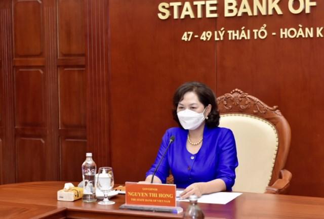 Thống đốc Ngân hàng Nhà nước Nguyễn Thị Hồng trong cuộc gặp trực tuyến song phương ngày 19/7/2021 với Bộ trưởng Bộ Tài chính Mỹ Janet Yellen.