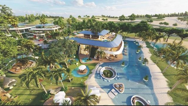 """Một trong số các Super VIP Villas tại khu Golf Villas thuộc dự án Sunshine Heritage Mũi Né (Phan Thiết) của Sunshine Group - tuyệt tác """"Resort in Resort"""" nằm rất gần sân Golf 36 hố tiêu chuẩn thi đấu quốc tế với thiết kế Link - Style đầy thử thách"""