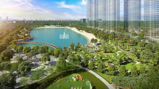 Gia đình Việt Anh ưu tiên lựa chọn dự án Imperia Smart City vì vị trí gần công viên, hồ.