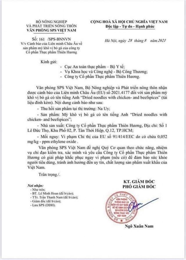 Thêm một sản phẩm mì của Việt Nam bị Liên minh Châu Âu (EU) cảnh báo vì nghi ngờ chứa chất cấm gây ung thư