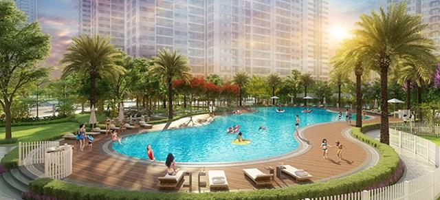Bể bơi được thiết kế bao phủ bởi cây xanh và những hàng ghế nghỉ mát để cư dân thư giãn