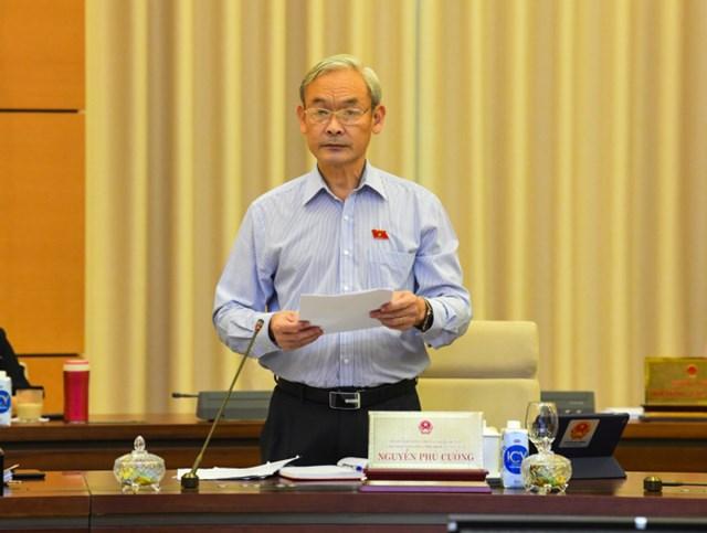 Chủ nhiệm Ủy ban Tài chính, Ngân sách Nguyễn Phú Cường trình bày báo cáo thẩm tra tại Phiên họp.