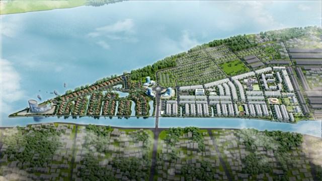 Phối cảnh dự án Khu đô thị mới Cồn Khương với hệ thống hồ cảnh quan nối trực tiếp với sông Khai Luồng có các cửa điều tiết nước