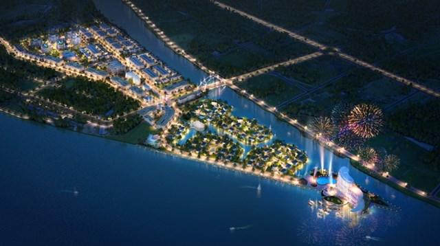 """Phối cảnh dự án khu đô thị mới Cồn Khương với hệ thống hồ cảnh quan lồng ghép vào cảnh quan để đưa đặc tính """"nước"""" của khu vực Tây Nam Bộ vào dự án"""