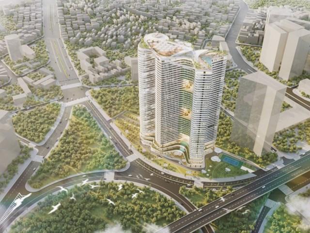 Dự án Grandeur Palace - Phạm Hùng được thiết kế lấy cảm hứng từ thác Bản Giốc và ruộng bậc thang