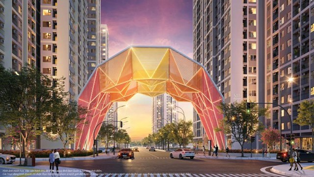 """Cổng chào biểu tượng Origami rực rỡ, bắt trọn cảnh hoàng hôn lãng mạn """"hiếm có khó tìm"""" ở khu vực nội đô thành phố."""