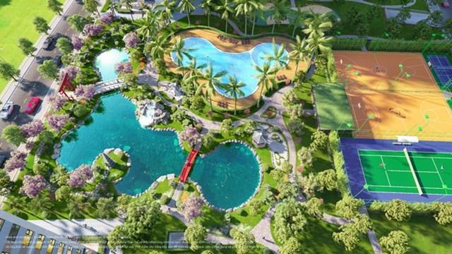 The Origami Zen còn nổi bật với các sân thể thao, sân chơi trẻ em, hồ bơi ngoài trời…