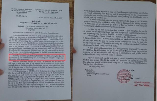 Cư dân CT4 Xala bức xúc vì Doanh nghiệp tư nhân số 1 Điện Biên tự ý tăng phí dịch vụ.