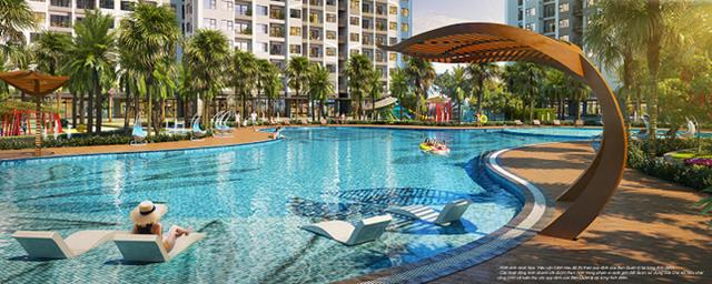Hồ bơi ngoài trời phong cách resort Mỹ - đặc quyền của cư dân GS1 nói riêng và The Miami nói chung