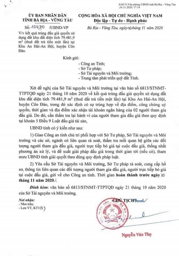 Bà Rịa - Vũng Tàu: Giao công an thẩm tra vụ đấu giá gần 8ha đất Côn Đảo - Doanh nghiệp Việt Nam - Ảnh 1