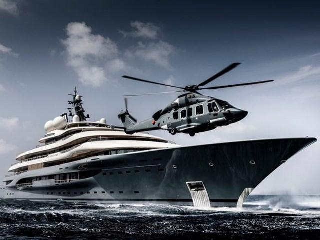 Du thuyền này có phòng xông hơi, sân bay trực thăng, hồ bơi, rạp chiếu phim...