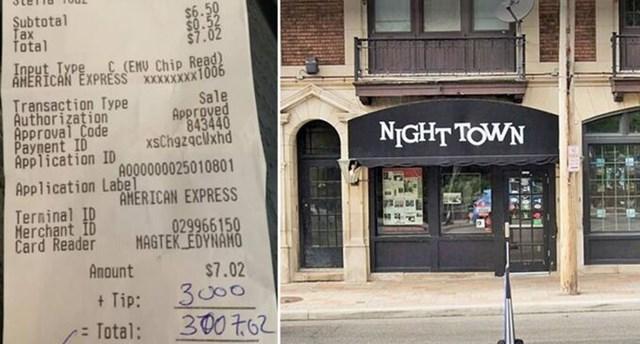 Nhà hàng Nighttown ở thành phố Cleveland và hóa đơn bia 7 USD cùng 3.000 USD tiền tip của vị khách hào phóng hôm 22/11. Ảnh: Brendan Ring.