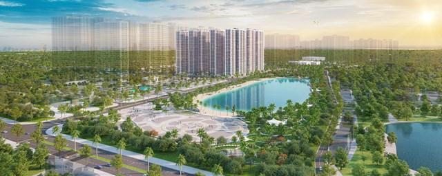 Công viên hồ trung tâm nằm kế bên dự án Imperia Smart City