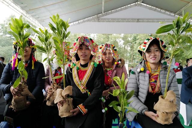 Các hộ dân đại diện cho người dân tỉnh Tuyên Quang nhận các cây giống từ chương trình