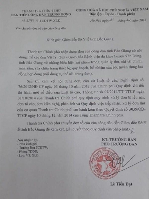 """Bắc Giang: Giám đốc TTYT huyện Yên Dũng bị """"tố"""" nhiều sai phạm - Ảnh 1"""