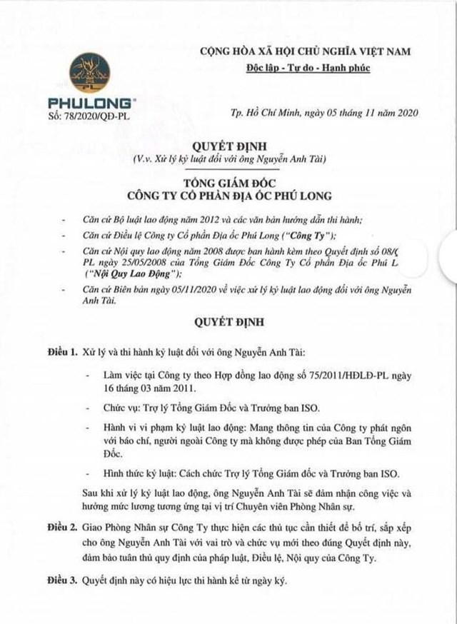 Quyết định xử lý kỷ luật của Công ty Phú Long đối với ông Nguyễn Anh Tài.