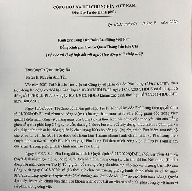Ông Nguyễn Anh Tài làm đơn gửi cơ quan chức năng trước quyết định của Địa ốc Phú Long