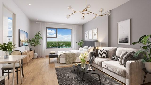 Các căn hộ Studio được bài trí hiện đại, sang trọng và tiện nghi