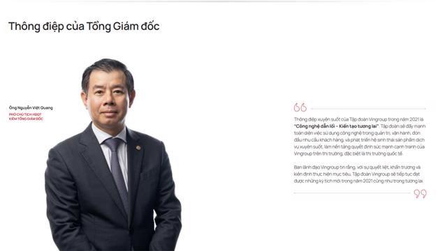 Ông Quang được bổ nhiệm giữ chức vụ Tổng Giám đốc Tập đoàn từ tháng 02 năm 2018.