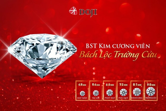 """Nhiều sản phẩm kim cương viên trong bộ sưu tập """"Bách Lộc Trường Cửu"""" của DOJI có mức giá chỉ từ 18 triệu đồng."""